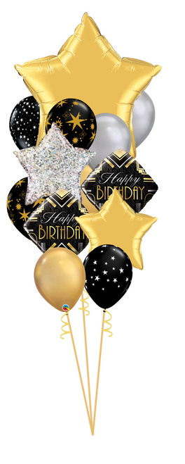 Elegant Birthday Balloon Bouquet - Black Silver Gold