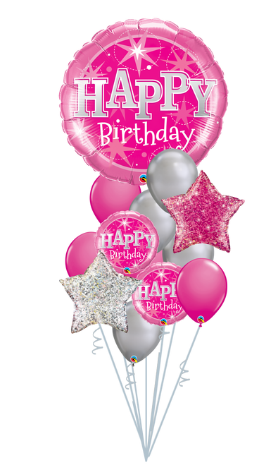 Happy Birthday Pink Sparkle Balloon Bouquet