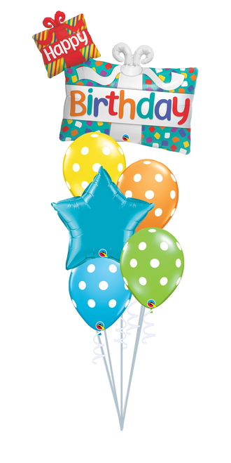 Happy Birthday Presents Balloon Bouquet