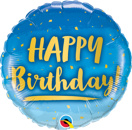 Birthday Gold & Blue Foil Balloon