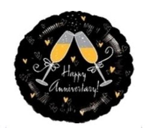 Happy Anniversary Champagne Glasses Foil Balloon