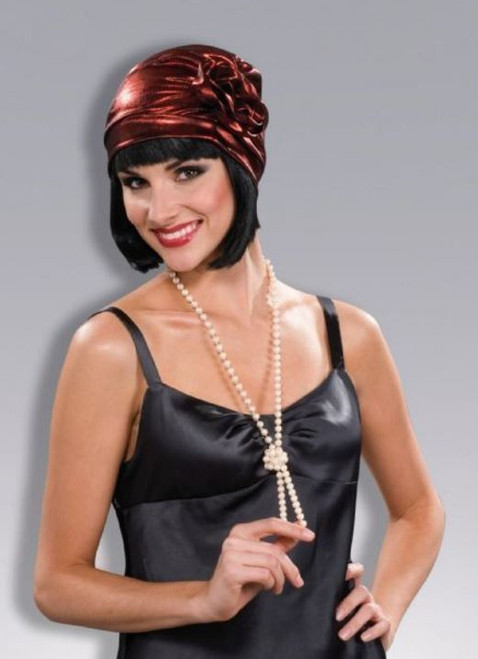 20's Flapper Cloche Metallic Red