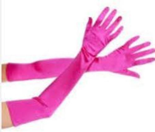 Pink Long Satin Gloves
