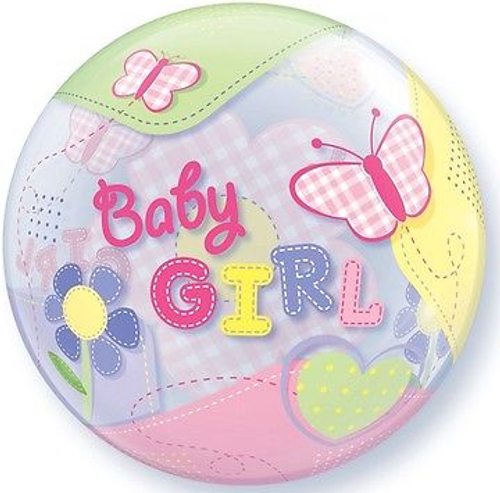 Baby Girl Butterflies Single Bubble Balloon