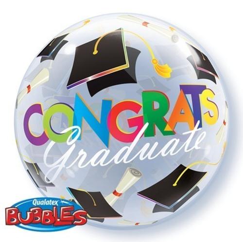 Congrats Graduation Caps Bubble Balloon