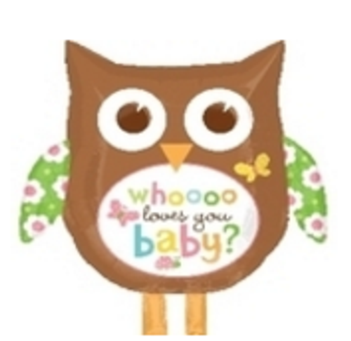 Whooo Loves You Baby Owl SuperShape Foil Balloon