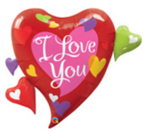 I Love You Multiple Hearts Foil Shape