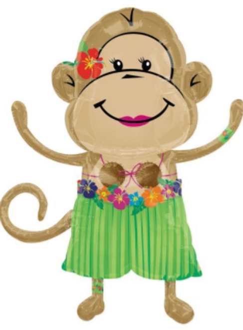 Hawaiian Girl Monkey Supershape Balloon