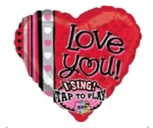 Love You Dots & Stripes Sing-A-Tune Foil Balloon