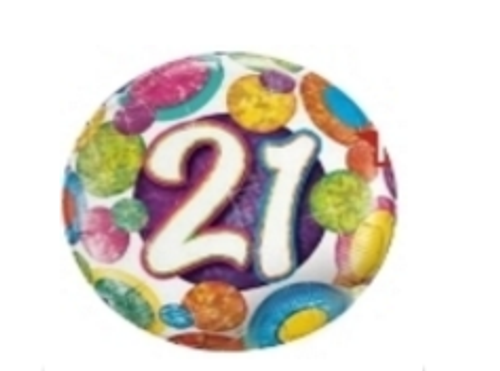 21st Big Dots And Glitz Holographic Foil Balloon