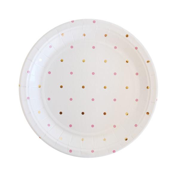 Gold & Pink Dots Dessert Plate