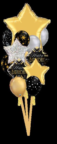 Elegant Birthday Balloon Bouquet - Black Silver Gold