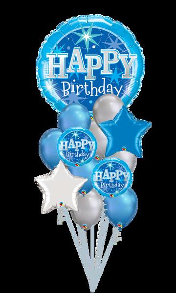 Happy Birthday Blue Sparkle Balloon Bouquet
