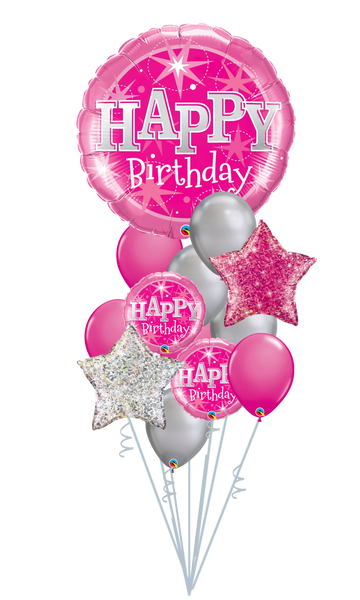 Happy Birthday Pink Sparkle Balloon Bouquet