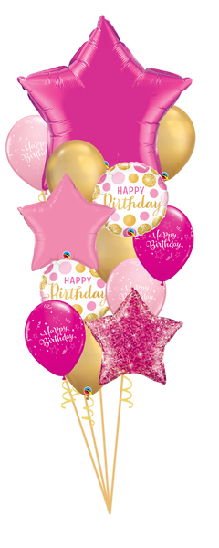 Pink and Gold Dots Birthday Mega Balloon Bouquet