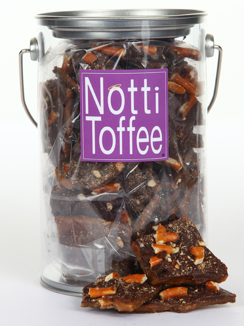 Notti Toffee Dark Chocolate Pretzel 1 Pound Pail