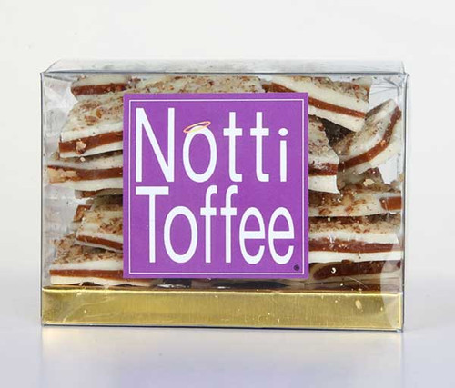 Notti Toffee White Chocolate Pecan 1/2 Lb Clear Box