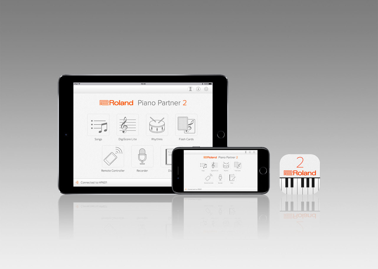 Piano Partner 2Roland's Piano Partner 2 app is a fun, interactive way to learn and enjoy music on your GP609. See the piano's internal music scores on your smartphone or tablet screen, improve your skills with music exercises, and check your daily progress as you practice. Just connect your device and GP609 wirelessly via Bluetooth, or USB cable. Available for free from the App Store or Google Play.  *Compatible with iPhone, iPad, and Apple Watch, as well as Android devices.
