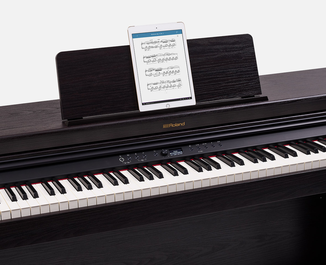 Fast-track learning with apps and Bluetooth. Great digital pianos include features that keep the whole family interested, so everyone's more likely to keep playing. Using Bluetooth audio, you can connect to your tablet or smartphone, stream music through the RP701's speakers or headphones, and then play along with your favorite artists. And with Bluetooth MIDI, it's simple to explore online teaching platforms like Skoove or try Roland's Piano Every Day app, which automatically records your performance for self-assessment and challenges you to learn a new piece with the One Week Master program.