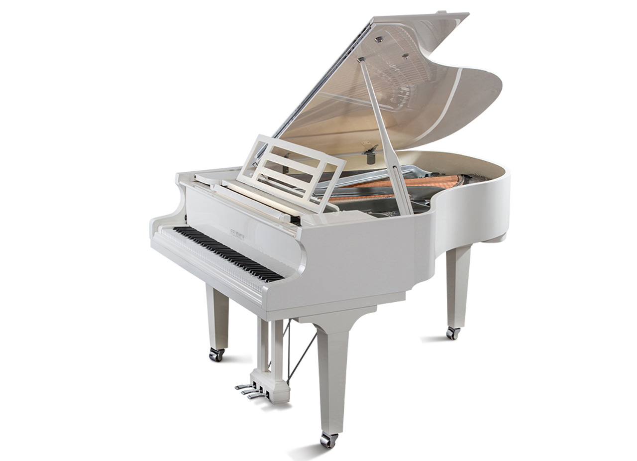 Feurich 179 Dynamic II  Grand PIano in White Polished - Chrome