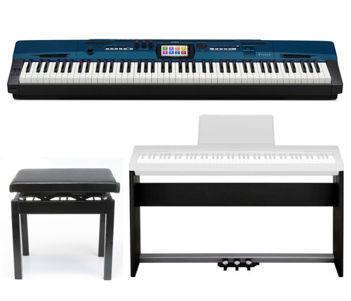 Casio Privia PX560M in Metallic Blue, Package Deal: includes CS67BK stand , SP33 Pedal assemble, and Free PBBK adjutable bench.