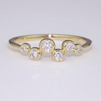 9ct gold diamond bubble ring