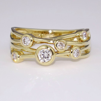 18ct gold diamond bubble ring
