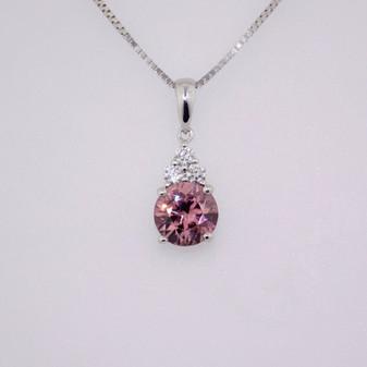9ct white gold pink zircon and diamond pendant