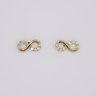 9ct gold cubic zirconia (CZ) infinity symbol stud earrings