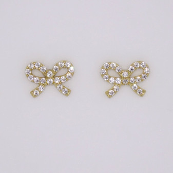 9ct gold cubic zirconia (CZ) bow stud earrings