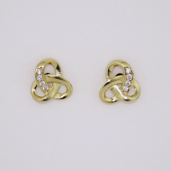 9ct gold Celtic knot cubic zirconia (CZ) stud earrings