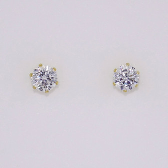 9ct gold cubic zirconia (CZ) solitaire stud earrings