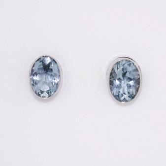 9ct white gold oval cut aquamarine stud earrings