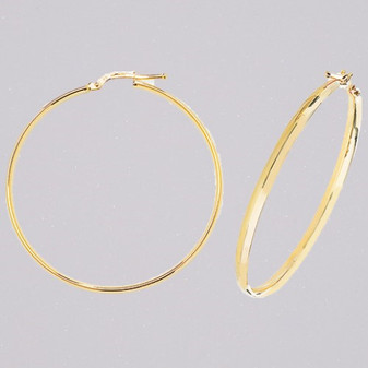 9ct yellow gold 40mm court shaped hoop earrings ER11554