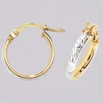 9ct yellow and white gold diamond cut hoop earrings ER11555
