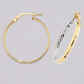9ct yellow and white gold 20mm court shaped diamond cut hoop earrings ER11557