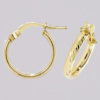 9ct yellow gold 10mm diamond cut court shaped hoop earrings ER11651