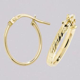 9ct yellow gold oval hoop diamond cut earrings ER11562