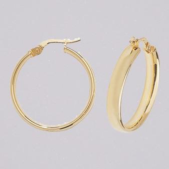 9ct yellow gold 20mm court shaped hoop earrings ER11572