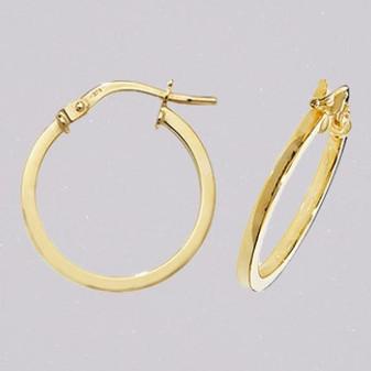 9ct yellow gold 15mm hoop earrings ER11650