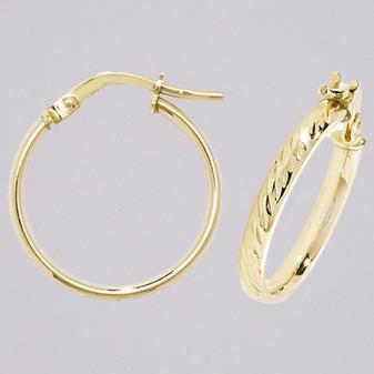 9ct yellow gold 15mm diamond cut court shaped hoop earrings ER11652