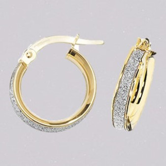 9ct yellow gold hoop earrings with sparkle inlay ER11653
