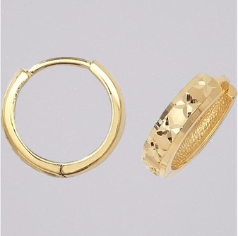 9ct yellow gold 9mm diamond cut hoop earrings ER11663