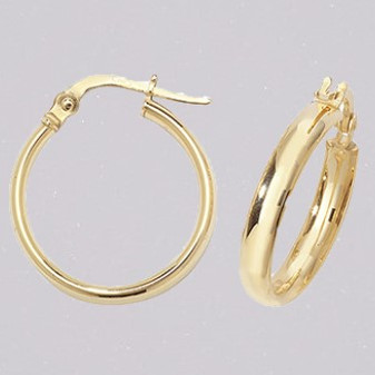 9ct yellow gold 15mm court shaped hoop earrings ER11672