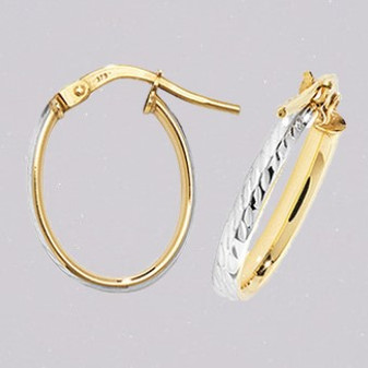 9ct yellow and white gold oval hoop earrings ER11674