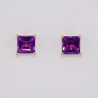 9ct gold square cut amethyst stud earrings