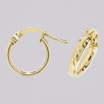 9ct yellow gold 8mm diamond cut court shaped hoop earring ER11676
