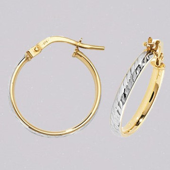 9ct yellow and white gold diamond cut court shaped hoop earring ER11677
