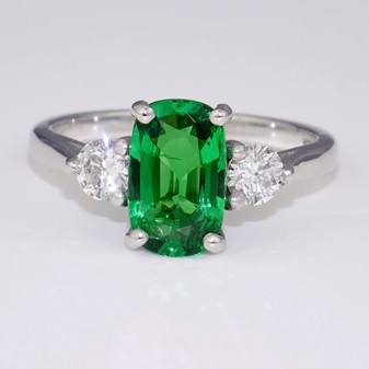 18ct white gold tsavorite garnet and diamond ring