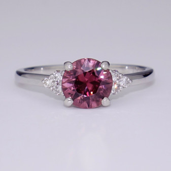 9ct white gold pink zircon and diamond ring